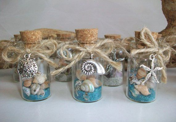 Beach In Bottle Wedding Favor – Beach Theme Shell Starfish Charms, Wedding Bridal Shower Party Favor, Sold in Sets of 6 or Specific Quantity