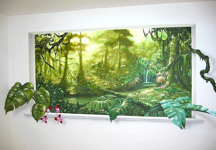 free murals trompe l oeil mural jungle mural with light through trees house pinterest. Black Bedroom Furniture Sets. Home Design Ideas