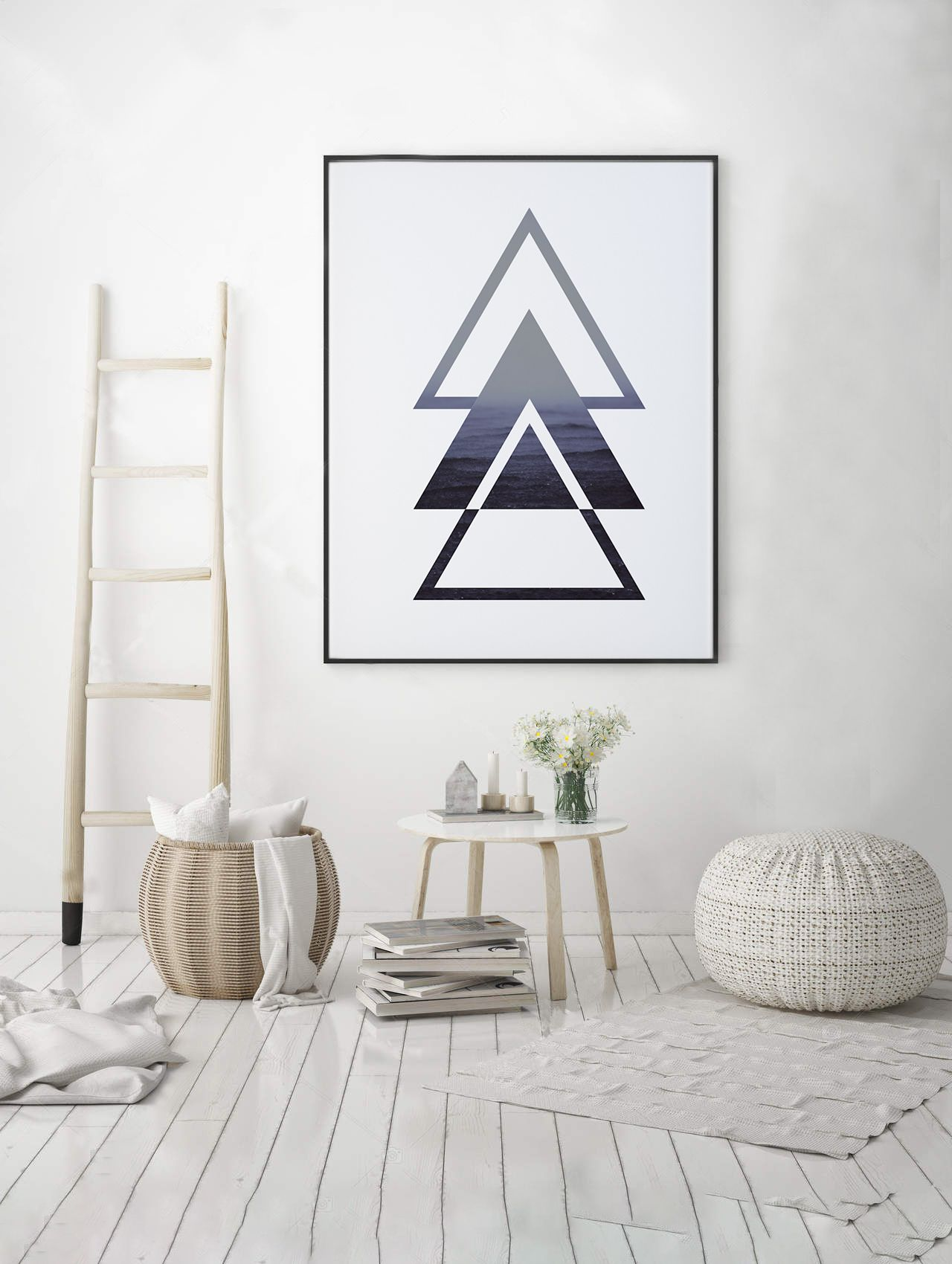 Triangles nature ocean print ocean wall art geometry art