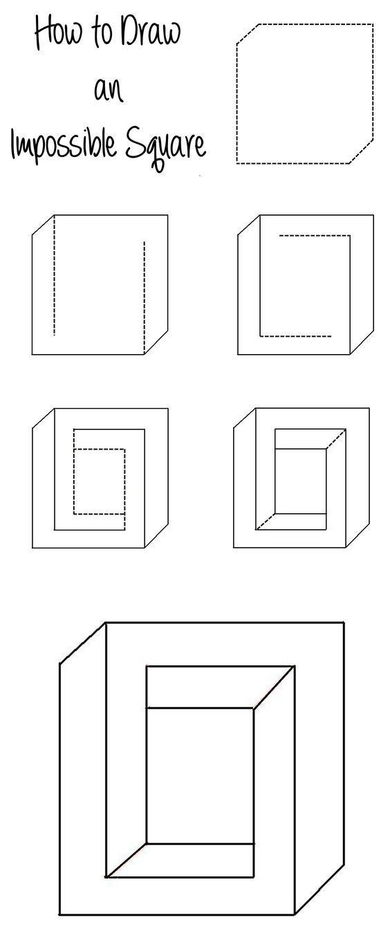 How To Draw An Impossible Square Illusion Illusion Drawings