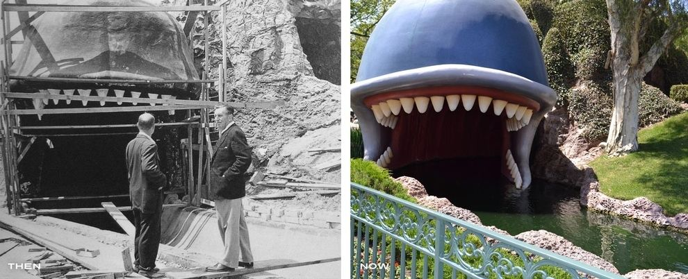 Disneyland, Then and Now. L: Walt Disney supervising the construction of Storybookland Canals, 1956. R: Monstro the Whale is the now-iconic entrance to the Storybook Canal ride.