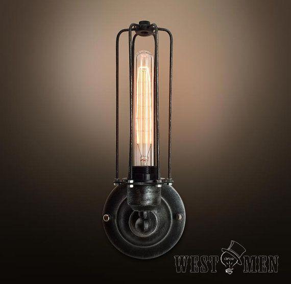 Rétro en fer forgé applique murale lampe par HandmadeLampWorks ...