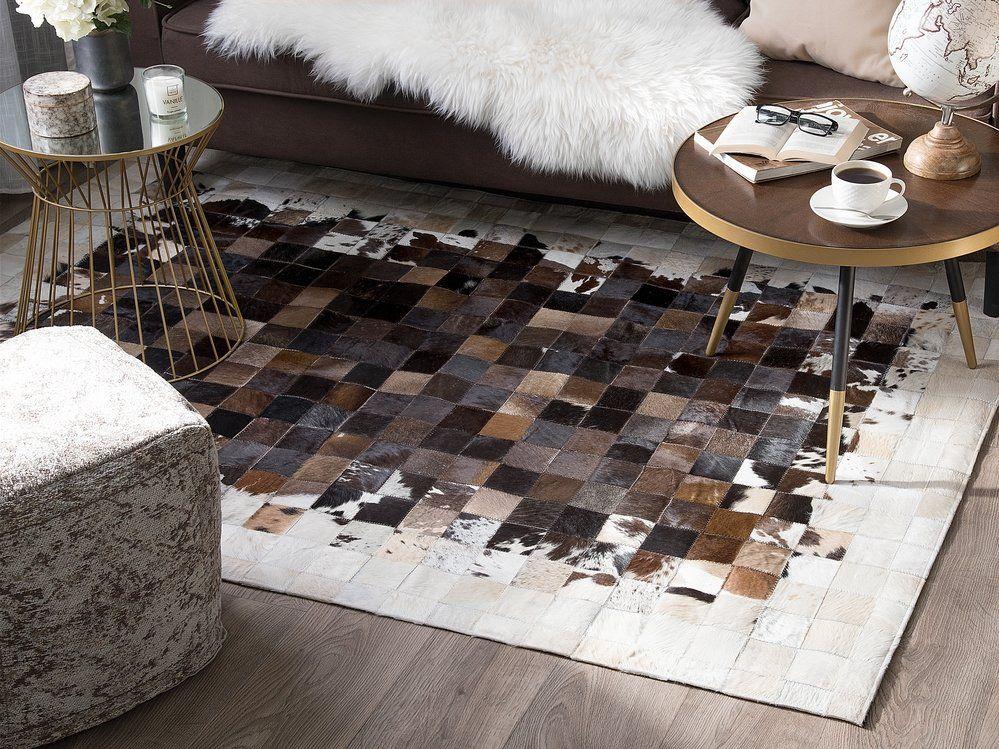 Tapis en cuir 160 x 230 marron/beige OKCULU | Rugs, Decor ...