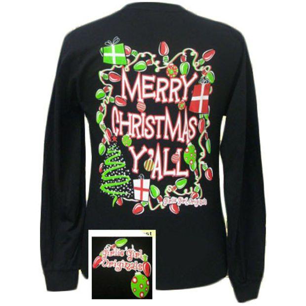 Girlie Girl Originals Merry Christmas Yall Long Sleeve Bright T Shirt