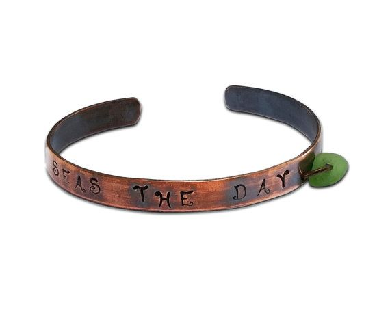 Seas the Day Copper Cuff  Free Shipping by ToBeMeJewelry on Etsy