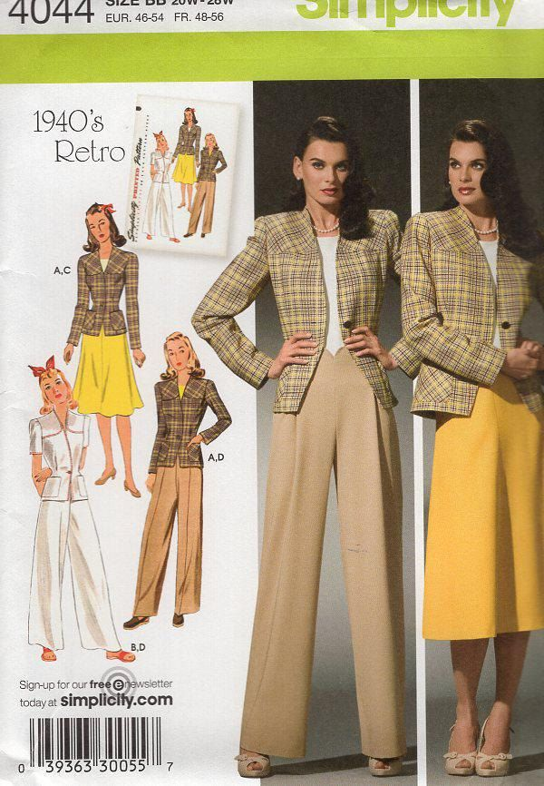 Free Us Ship Sewing Pattern Simplicity 4044 Vintage Retro 1940s 40s ...
