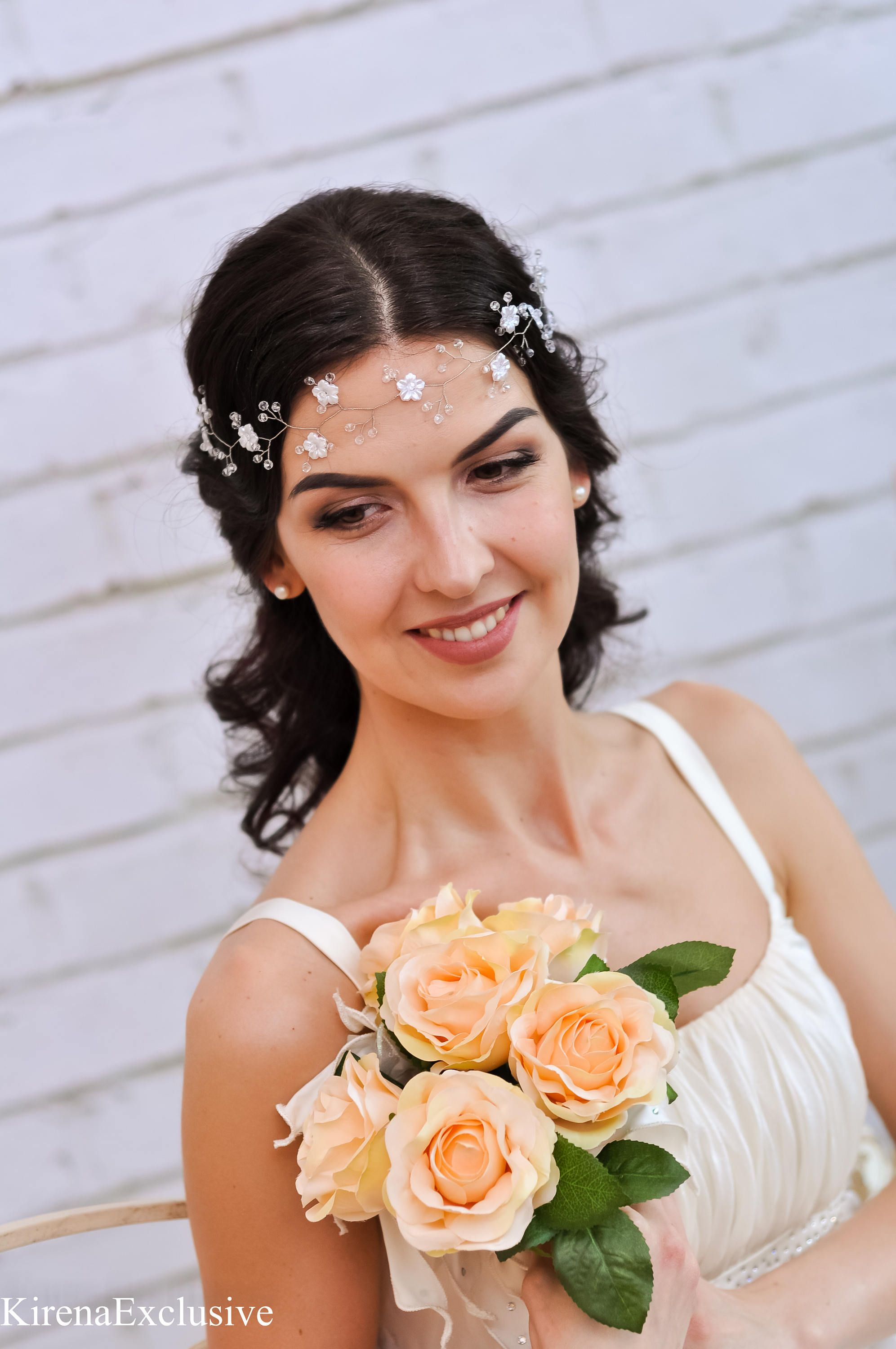 White Flower Crown Wedding Flower Headband Flower Tiara Flower Halo