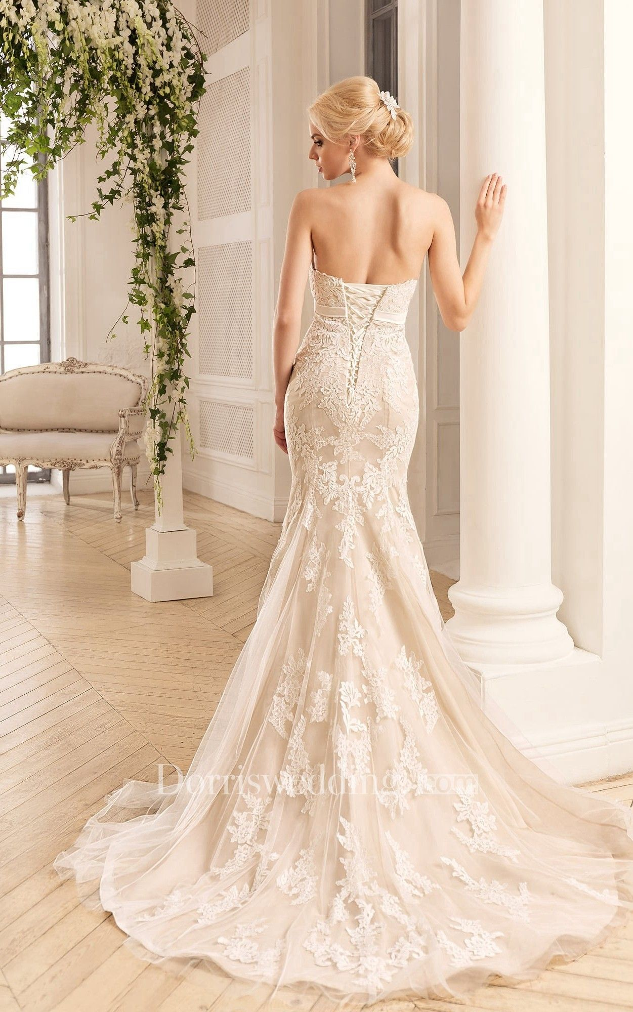 Mermaid Long Sweetheart Sleeveless Backless Lace Tulle Dress With