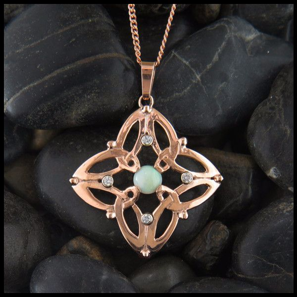 Trinity star pendant with opals and diamonds trinity knot celtic rose gold celtic trinity knot pendant with opals and diamonds aloadofball Choice Image