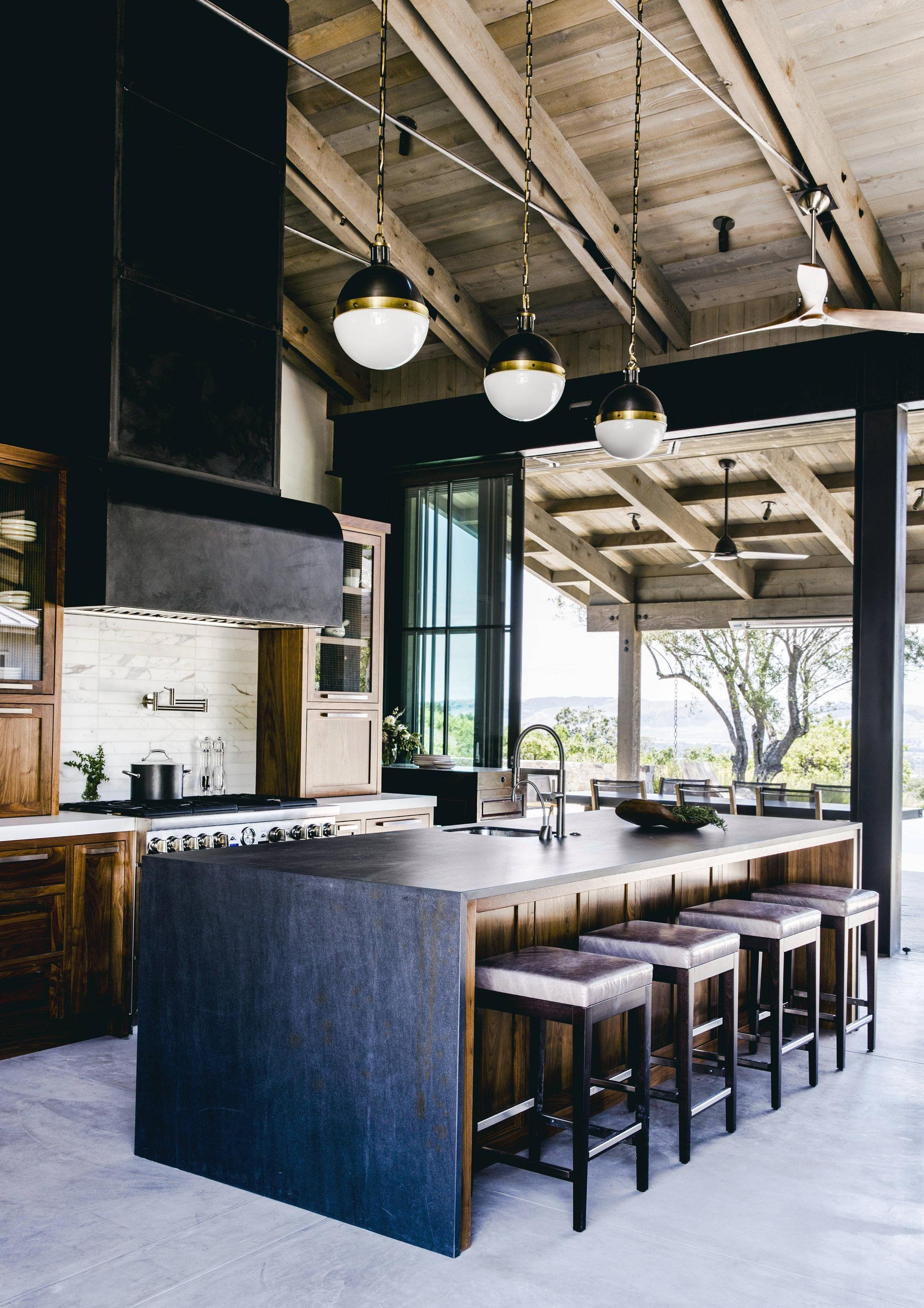 Interior Design Open Kitchen: Open Kitchen With Dark Wood Finishes, Waterfall Island