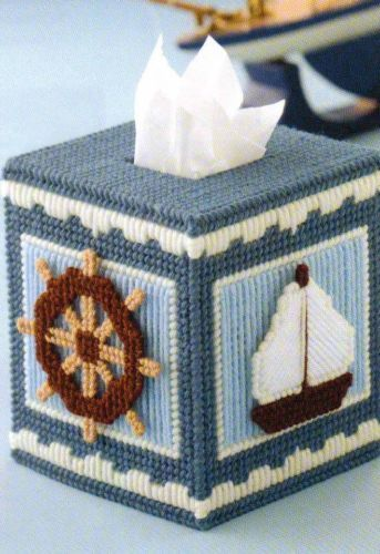 Nautical Tissue Box Cover Plastic Canvas Pattern From A Book
