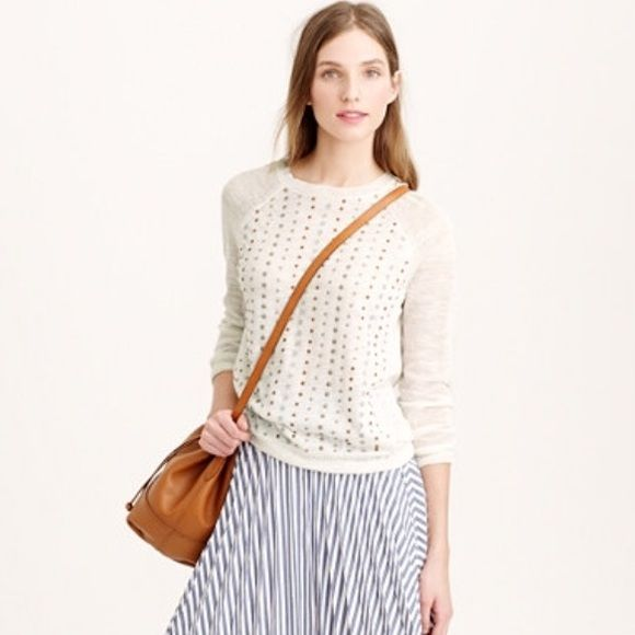 J.Crew Stacked Sequins Pull Over RETAIL. Lightweight pullover in ivory with the stacked sequins design. Rib trim at the neck, sleeve and hem. Slightly relaxed fit. Linen/Poly blend.,This sweater is brand new with tag, but has a small snag at the back left lower shoulder as pictured. It is not noticeable due to the way the sweater was made. Please ask any questions before purchasing. J. Crew Tops