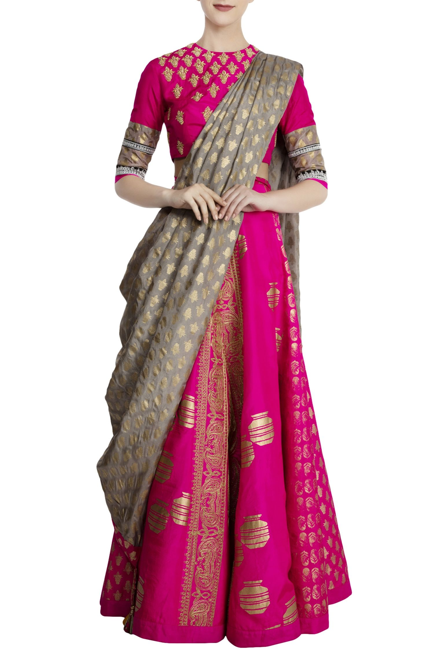 82880f5373 Shop Masaba - Hot pink & olive green silk embellished lehenga with blouse &  dupatta Latest Collection Available at Aza Fashions