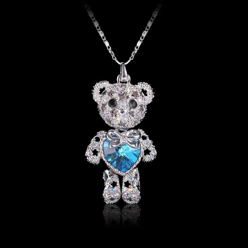 Romantic Heart-shaped Alloy Bear Crystal Fashion Necklace For Women