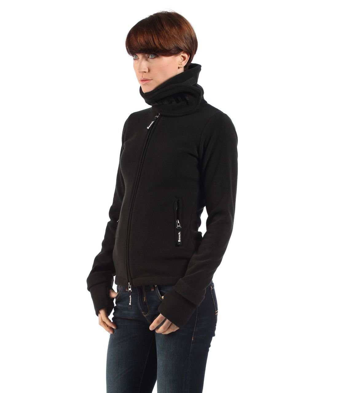 Funnel neck zip up fleece jacket with velcro close at the collarThumbholes on sleeves Bench logo embroidered across front of collar Bench logo on zips