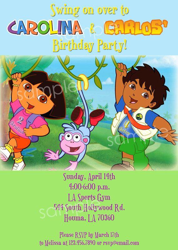 Dora Diego Birthday DIY PRINTABLE Party INVITATION 4x6 or 5x7