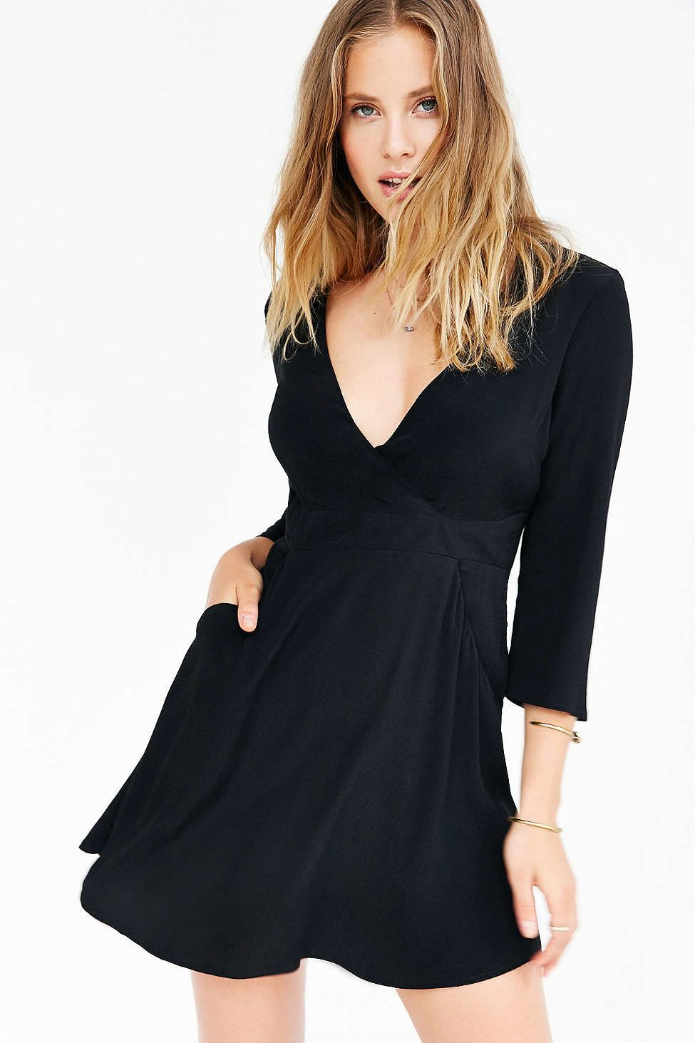 Silence + Noise Long-Sleeve Brittany Surplice Dress | Things to buy ...