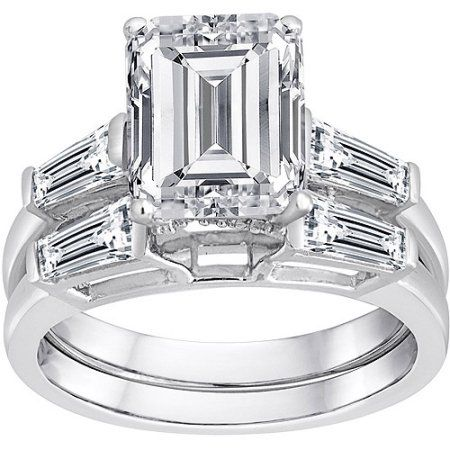 b547980f1 Pure Perfection Certified Bridal Ring with Emerald-Cut Stone Made with Swarovski  Zirconia, Women's, Size: 7