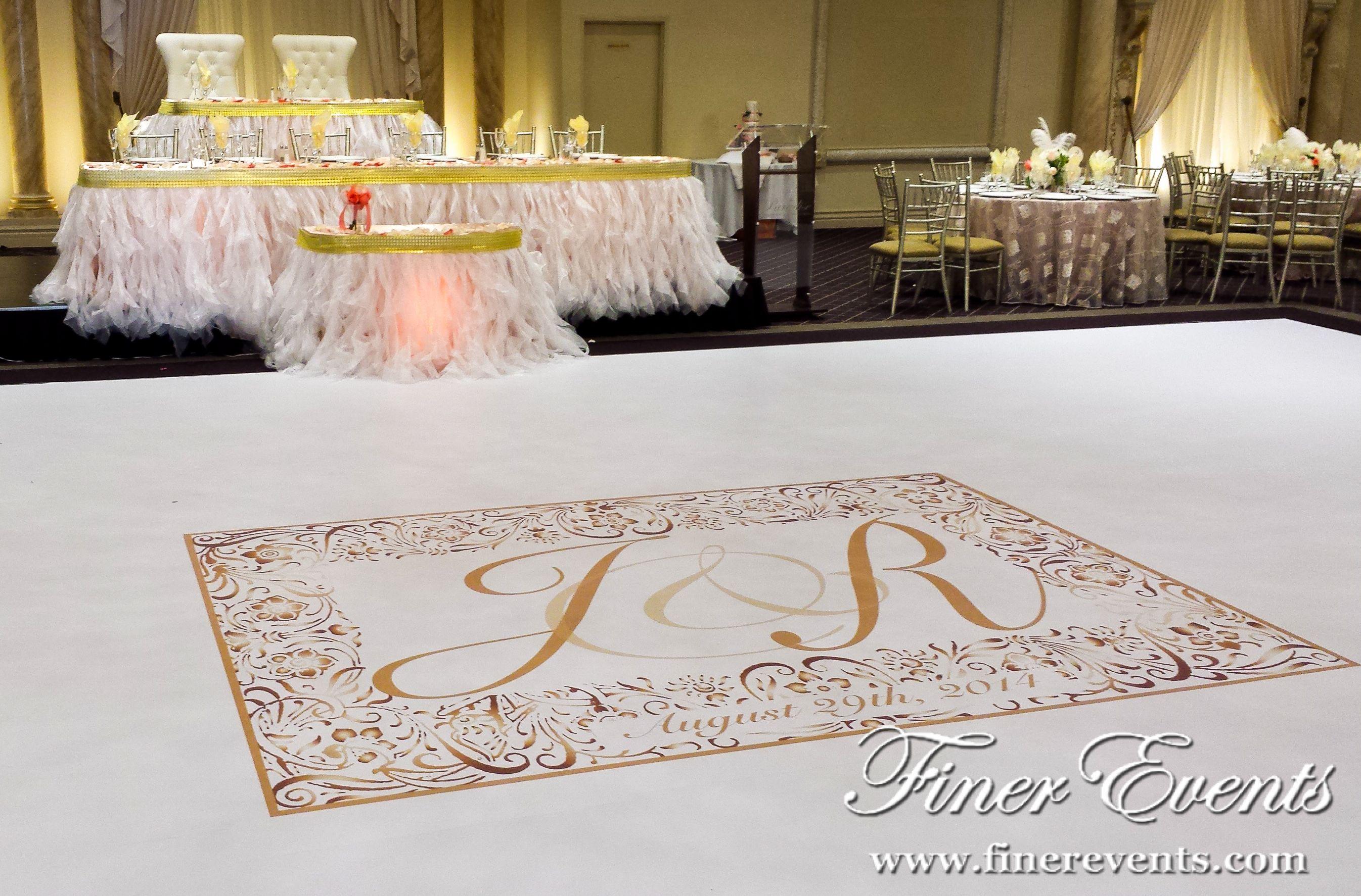 Custom #vinyl dance floor with a #1920s themed golden monogram to ...