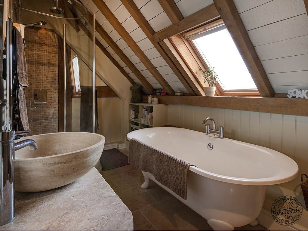 Bathroom Interior Exposed Beams Painted Common Rafters New Build House  Worcestershire   Carpenter Oak