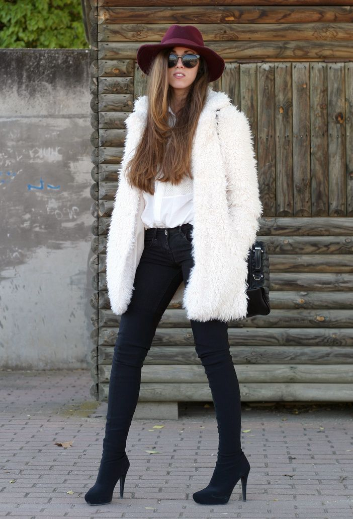 How To Wear Over The Knee Boots Fashion Pinterest Fur Fashion