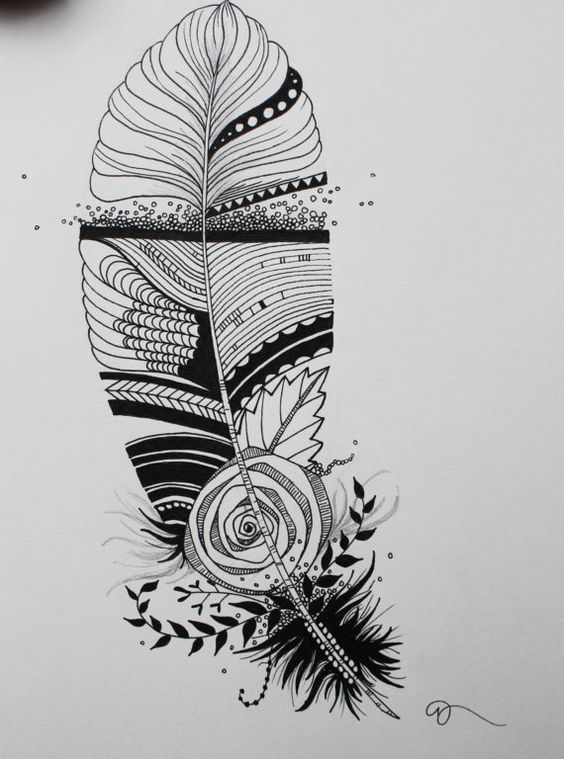 original india ink drawing or tattoo design whimsical abstract