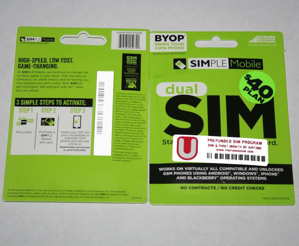 Simple Mobile Prepaid Dual Regular Micro Sim Kits Preloaded With