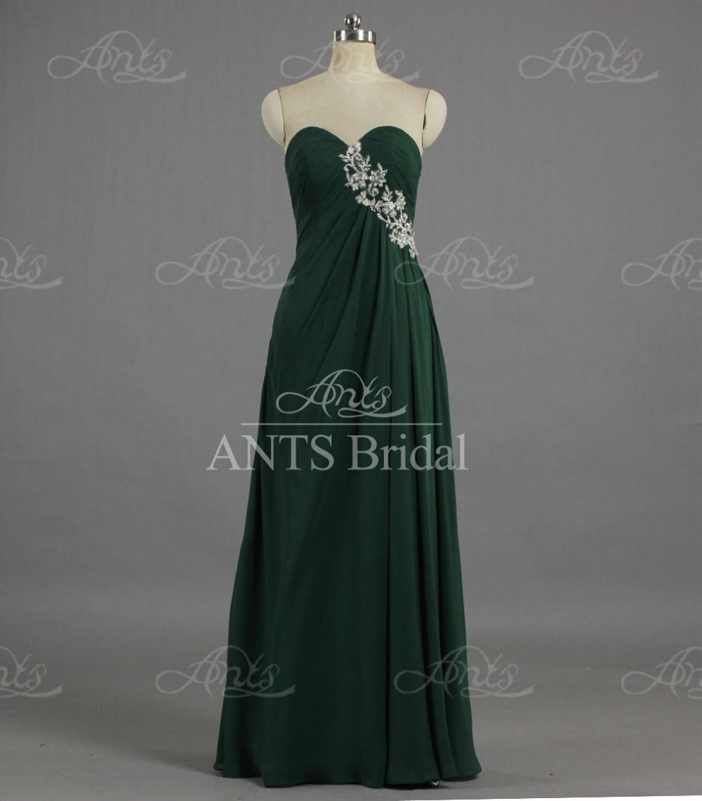 E1679 Vestidos Green Evening Gown Sweetheart A Line Appliqued Lace Chiffon Long Homecoming Dresses