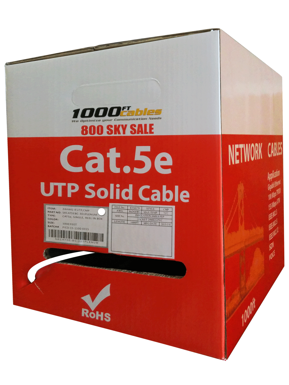 1000ft Cat5e Plenum CMP Rated 350MHz Solid UTP Ethernet Cable White
