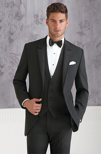 9526129af626 Coppley 9718 Black, one-button vented tuxedo with self-edged, floor-level  peak lapel. Slim fit. Sizes: Boys' 2 to men's 66 Trousers: Flat front 0100  Shirt: ...