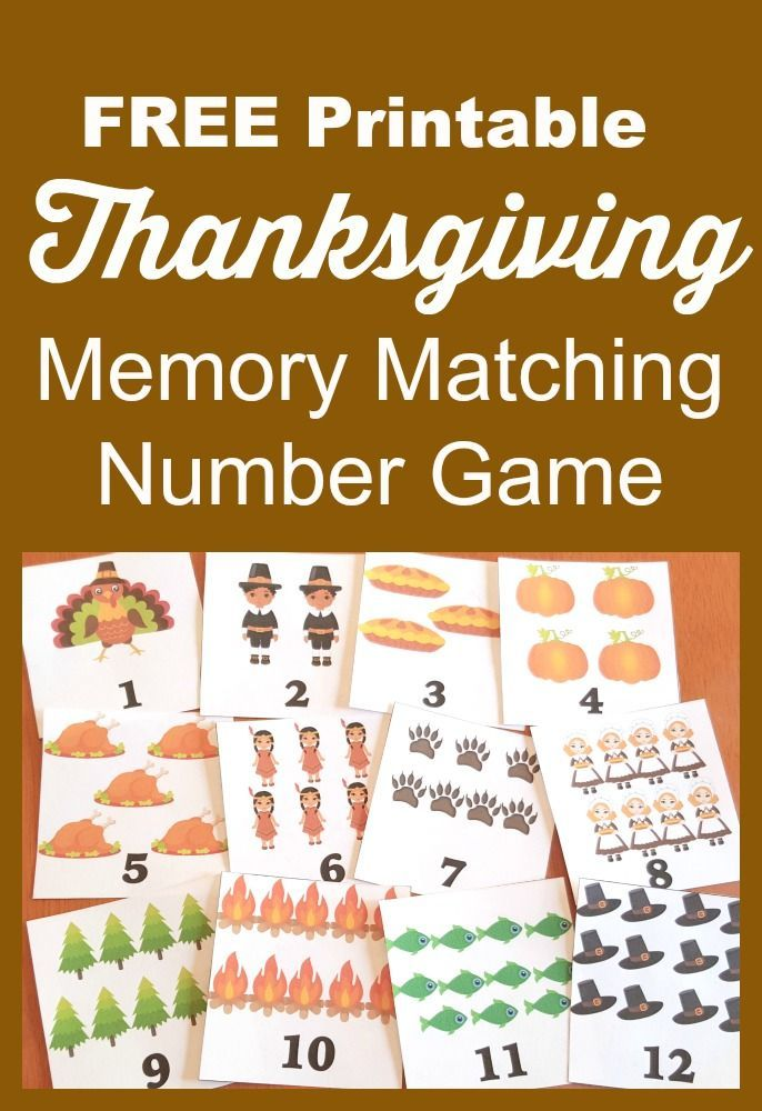 FREE Thanksgiving Printable Memory Match Number Game | Math numbers ...