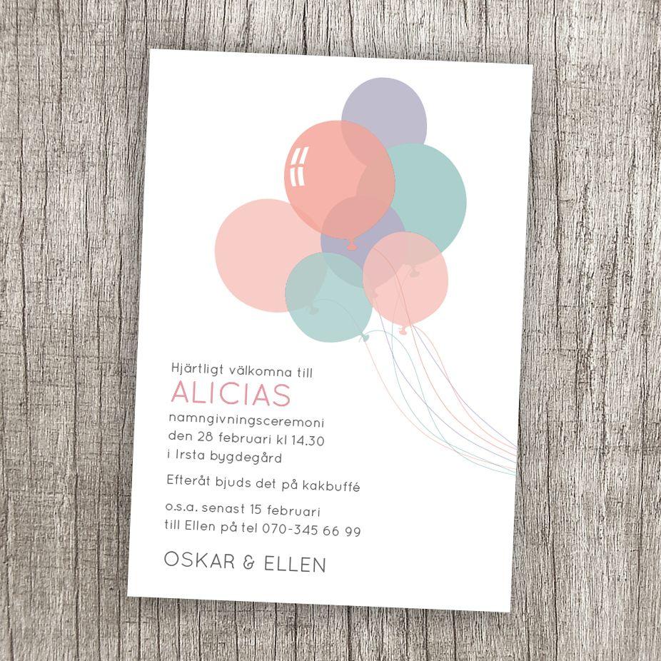 gungstol barn dop ~ anna göran design  ballonger ett inbjudningskort till dop