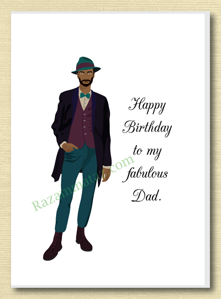 African American Dad Birthday Card D African American Birthday