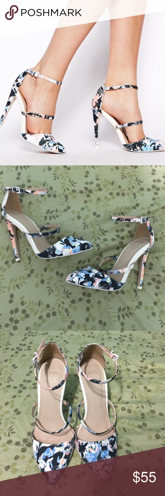 ASOS floral poynter heels Worn a handful of times but in good condition. Will not discuss pricing in comments, only through the offer button. Reasonable offers accepted. ❌No trades❌ ASOS Shoes Heels