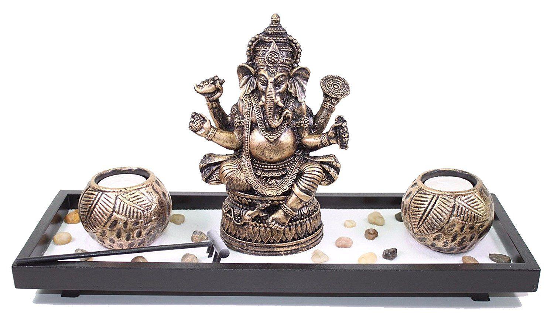 Elephant ganesha zen garden sand rocks candle holder home decor