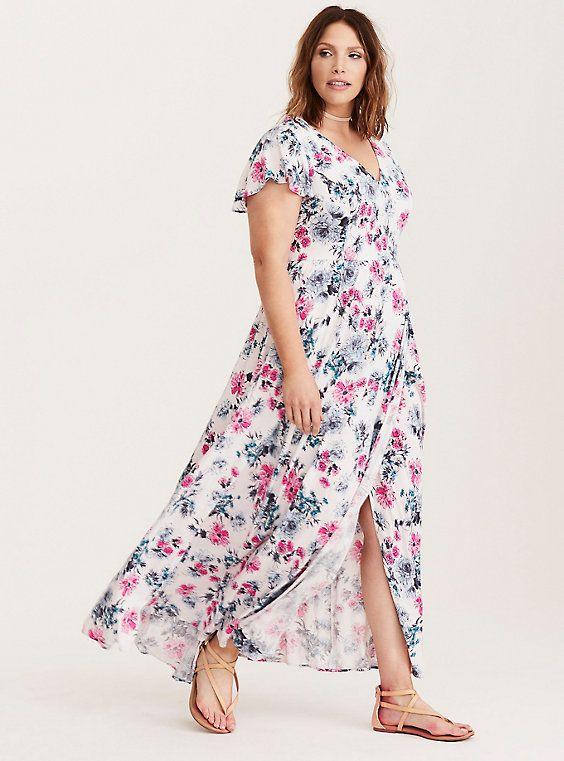 c77fd325a60 Plus Size Floral Print Challis Maxi Dress