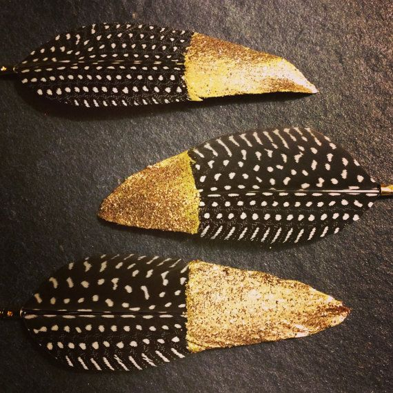 Dipped Dotted Quail Feather Necklace by VelvetandSlate on Etsy