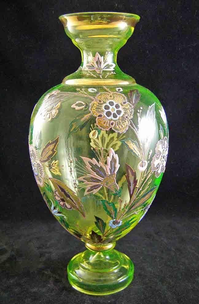 Highly Enameled Decoration Bohemian Canary Vaseline Moser Tall Vase.