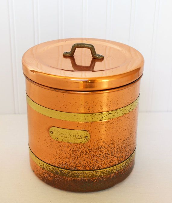 Rustic Cookie Jar Stunning Vintage Copper And Brass Cookie Jar  Rusticjulestresors Inspiration