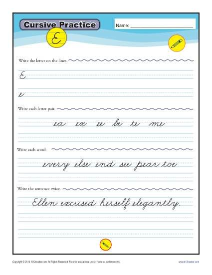 Cursive E - Letter E Worksheets for Handwriting Practice