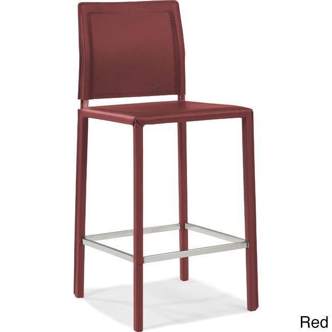 This modern style counter stool stands at 26 inches with a natural finish. The upholstery comes in the choice of red,black, or dark grey.