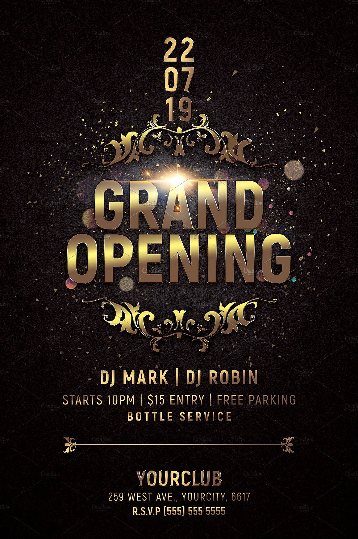 Grand Opening Party Flyer by Hotpin on creativemarket