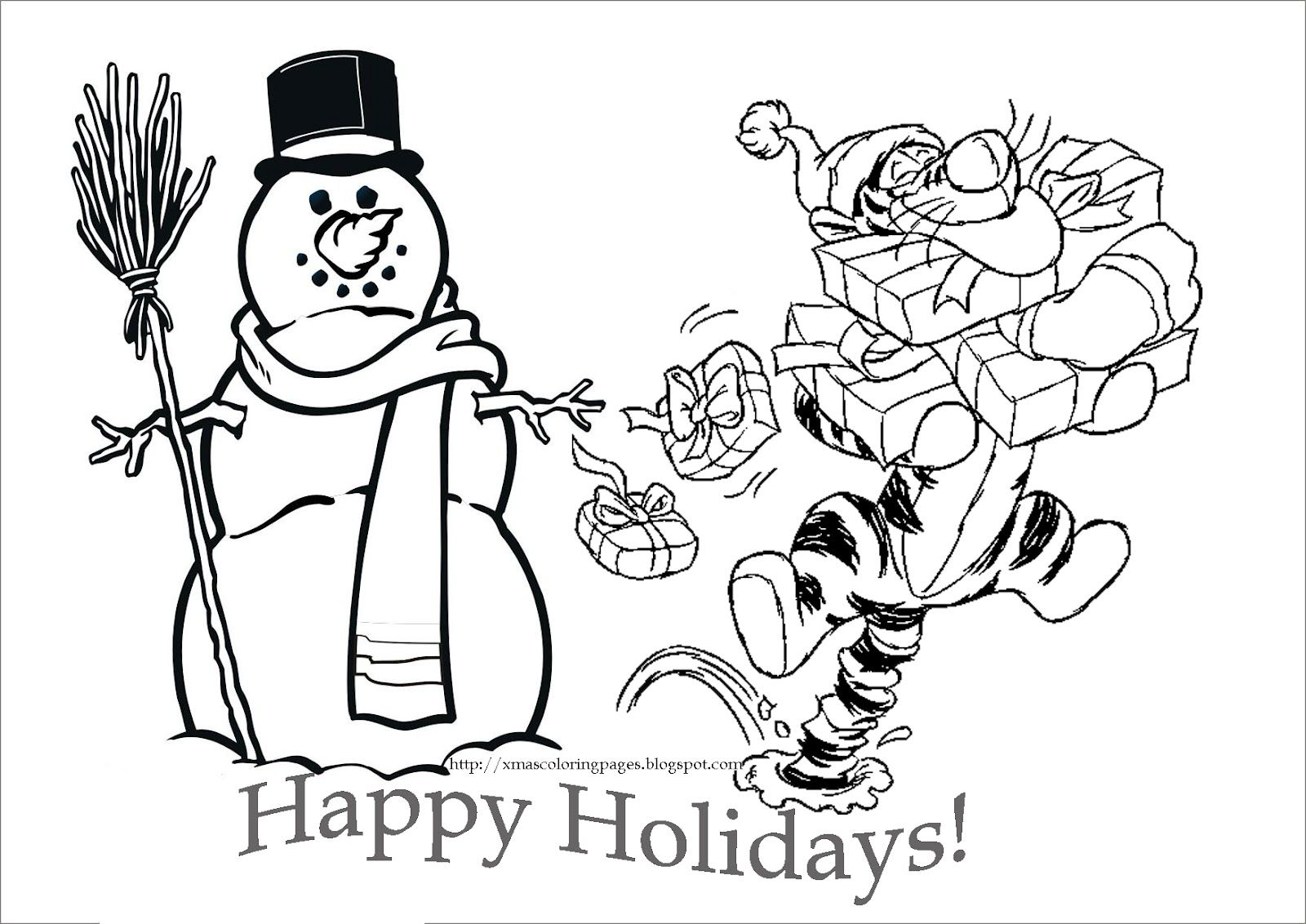 Snowman Tigger With Presents Happy Holidays Disney Coloring Pages Cute Coloring Pages Disney Princess Coloring Pages