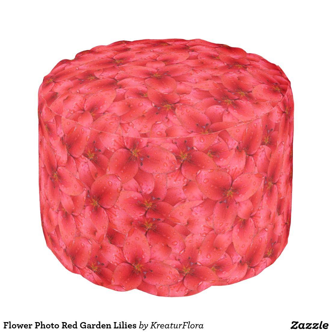Flower Photo Red Garden Lilies pouf