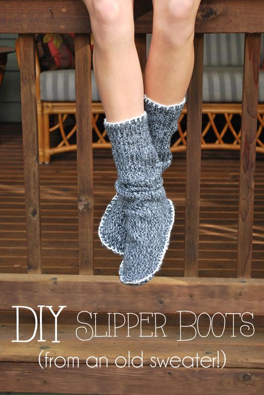 Diy Upcycled Sweater Slipper Boots A Hankering To Be Making This