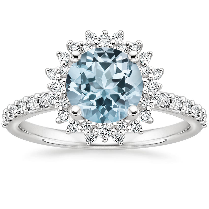 Platinum Aquamarine Twilight Diamond Ring #aquamarineengagementring