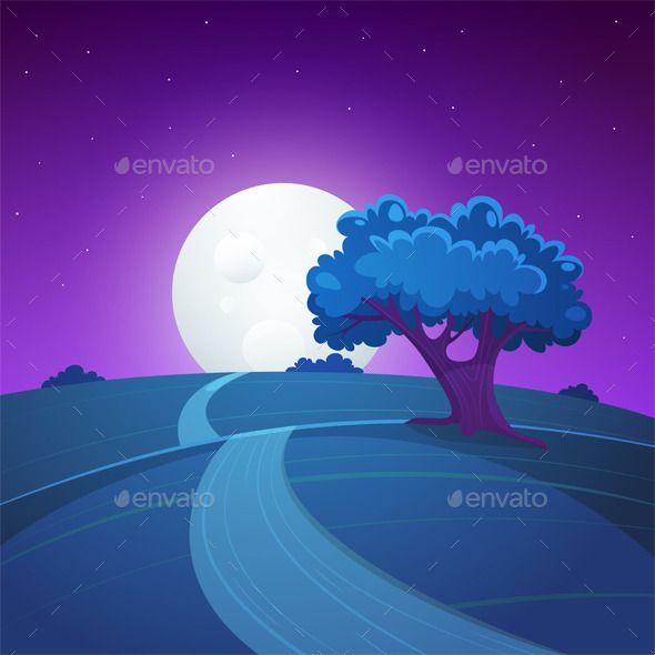 Night Landscape Night Landscape Landscape Illustration Landscape