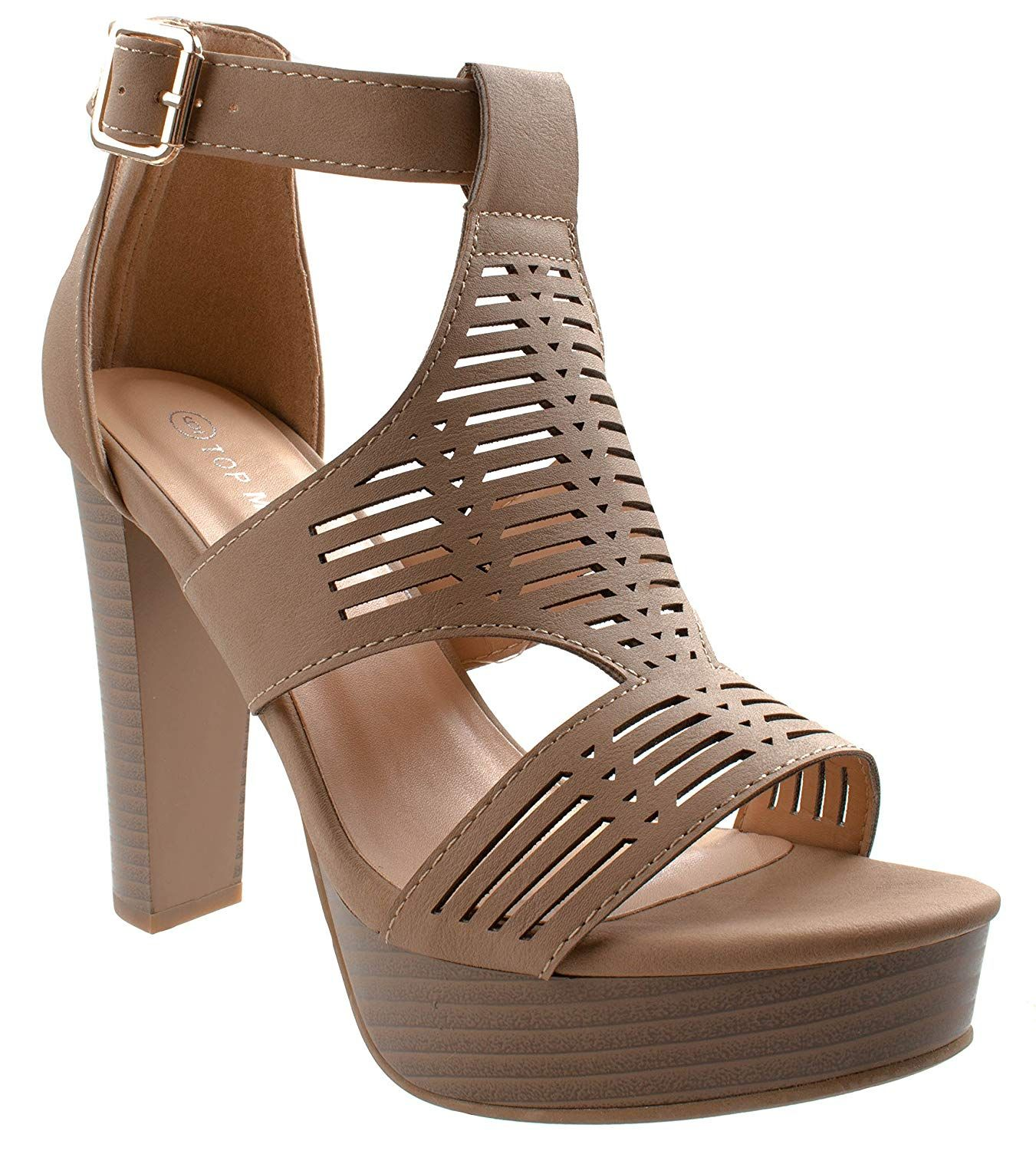 4b05a8aff6f3c Asushoes Women's Top Moda Thomas-50 Gladiator Caged Cutout Open Toe ...