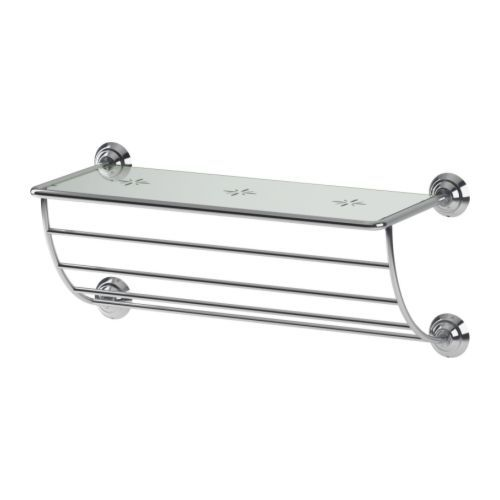 LILLHOLMEN Towel hanger shelf   IKEA  40  chrome. PO NG Footstool  black brown  Isunda gray   Toilets  Towels and Closet