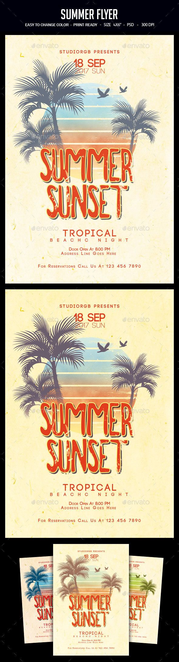 Summer Flyer  Party Flyer Flyer Template And Font Logo